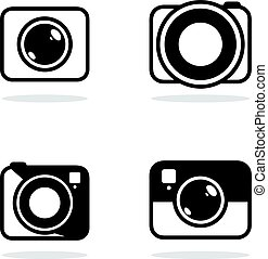 Camera icon on white background, flat style.