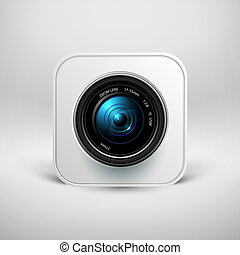 Camera icon photo lens with shutter