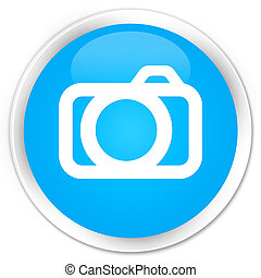 Camera icon premium cyan blue round button
