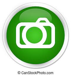 Camera icon premium green round button
