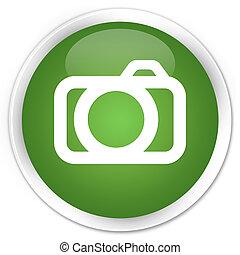 Camera icon premium soft green round button
