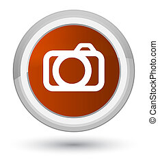 Camera icon prime brown round button
