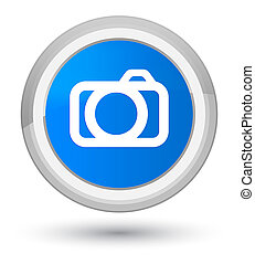 Camera icon prime cyan blue round button