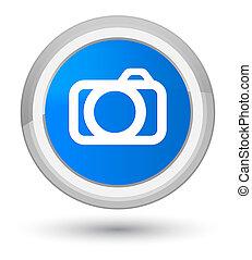Camera icon prime cyan blue round button