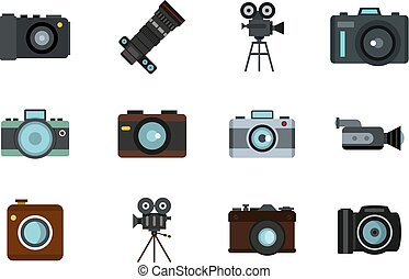 Camera icon set, flat style