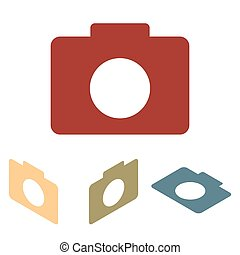 Camera icon set. Isometric effect