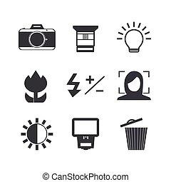 Camera icon set.