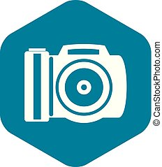 Camera icon, simple style