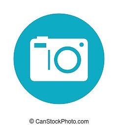 camera icon, social media in frame circular