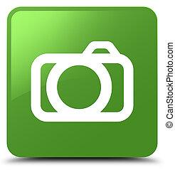 Camera icon soft green square button