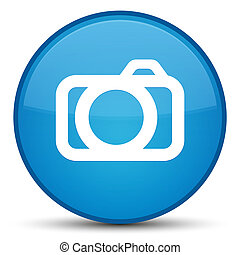 Camera icon special cyan blue round button