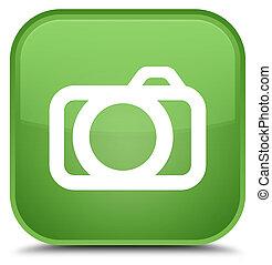 Camera icon special soft green square button