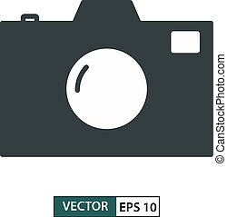 Camera icon, symbol, flat design isolated on white. Vector illustration EPS 10