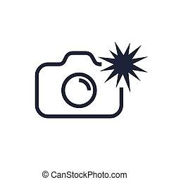 Camera icon vector illustration. Isolated photocamera with flash symbol. Photo camera line concept. Photo gadget graphic design. Editable Stroke