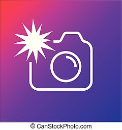 Camera icon with flash on the colored background. Editable Stroke