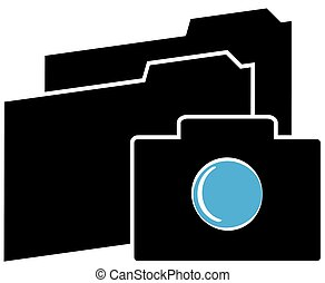 Camera icon with folders on white background. Vector illustration