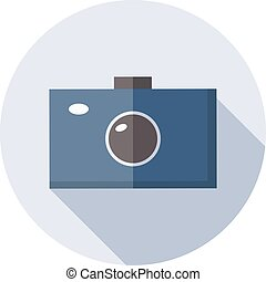 Camera icon with long shadow isolated on white background.