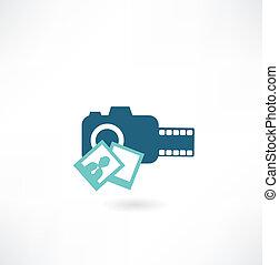 camera icon with photos