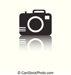 Camera icon with reflection effect on white background. Flat vector illustration.