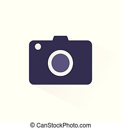 Camera icon with shadow. Flat vector illustration