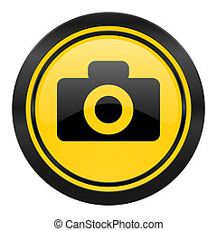 camera icon, yellow logo