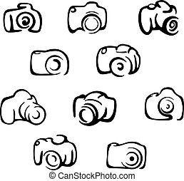 Camera icons and symbols set isolated on white background