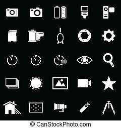 Camera icons on black background