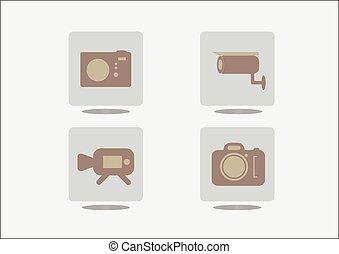 Camera icons on grey background