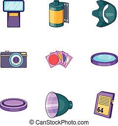 Camera icons set, cartoon style
