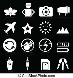 Camera icons with reflect on black background