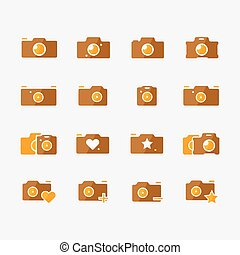 Camera icons yellow set