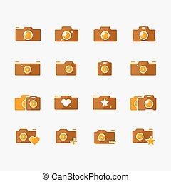 Camera icons yellow set