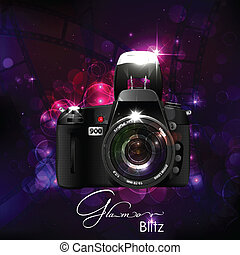 Camera in Glamour Background - illustration of camera in...