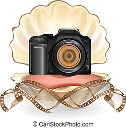 Camera in pearl vector