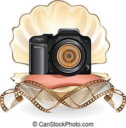 Camera in pearl vector