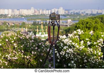 Camera in the botanical garden in Kyiv