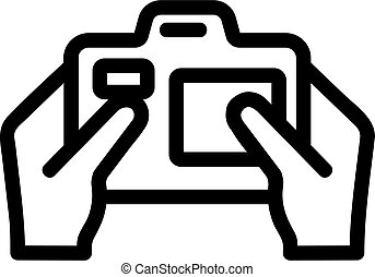 Camera in the hands of the icon vector. Isolated contour symbol illustration