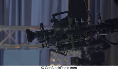 Camera in tv studio during tv recording. Stock video footage UHD (4K) / 3840-2160 / MP4 / Codec H.264 / 25 fps.