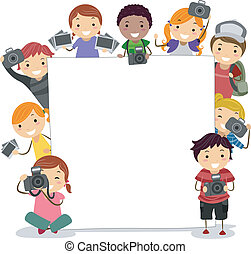 Camera Kids - Illustration of Kids Holding Cameras...