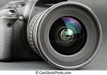 Camera lens - Close-up of a camera lens attached to a camera...