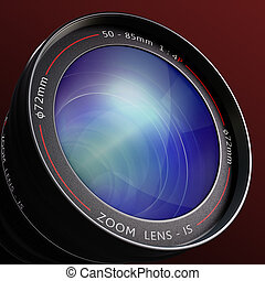 Close up to the lens. The lens is a concept of photography and surveillance.