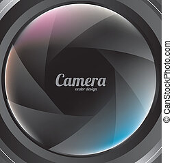 camera lens over  black background vector illustration