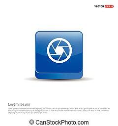 Camera Lens Icon - 3d Blue Button