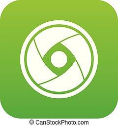 Camera lens icon digital green