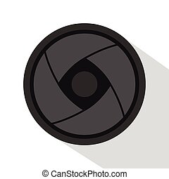 Camera lens icon, flat style