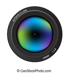 Illustration of a colorful dslr camera lens, front view