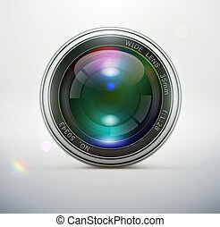 Camera lens - illustration of a single detailed camera lens...