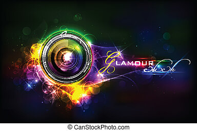 illustration of camera lens in glamour background