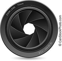 Illustration of camera lens, on white background for design