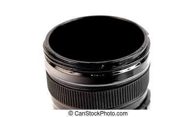 Camera lens is filled with white cleaning solution